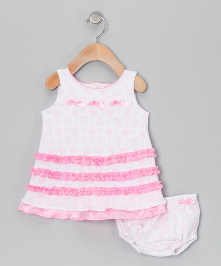 Light Pink Damask Bow Dress & Diaper Cover - Infant