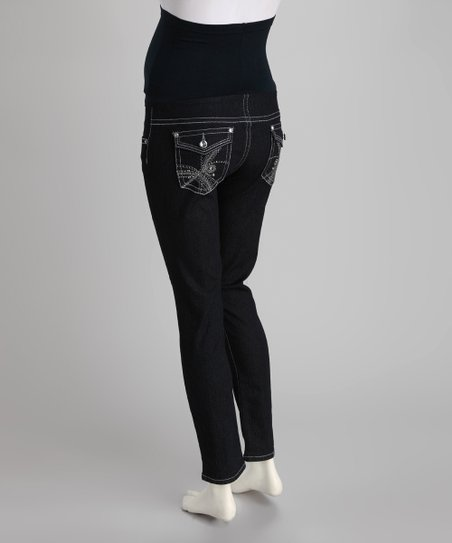 Blue Embellished Over-Belly Maternity Skinny Jeans - Women