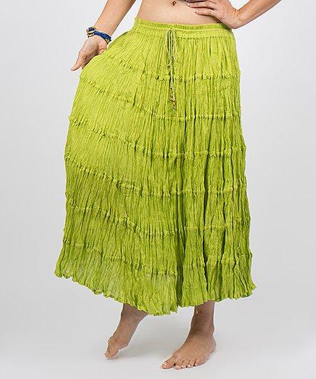 Lime Crinkled Maxi Skirt