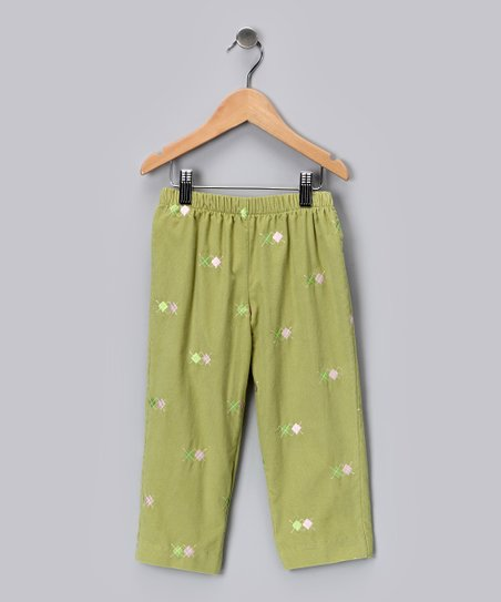 Leaf Green & Pink Argyle Corduroy Pants - Infant, Toddler & Girls