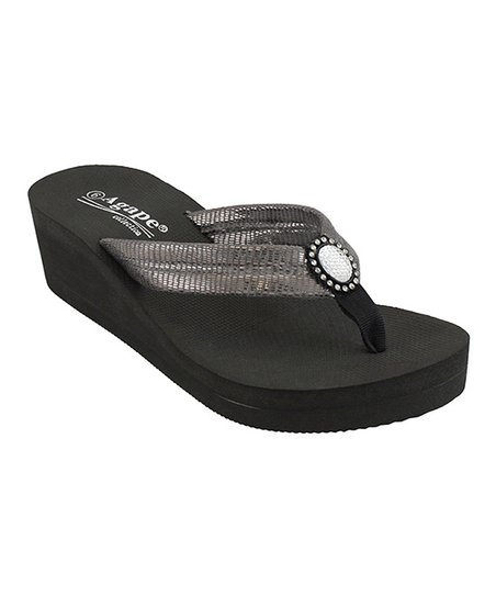 Pewter Rhinestone Talent Wedge Flip-Flop