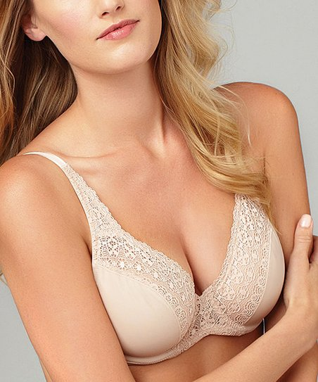 Sun Beige Lace-Panel Bra - Women & Plus
