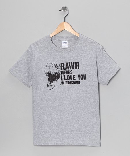 Gray 'RAWR Means I Love You' Tee - Boys & Men