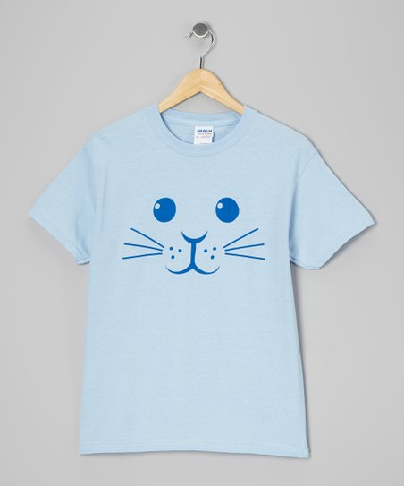Light Blue Bunny Face Tee - Toddler & Kids