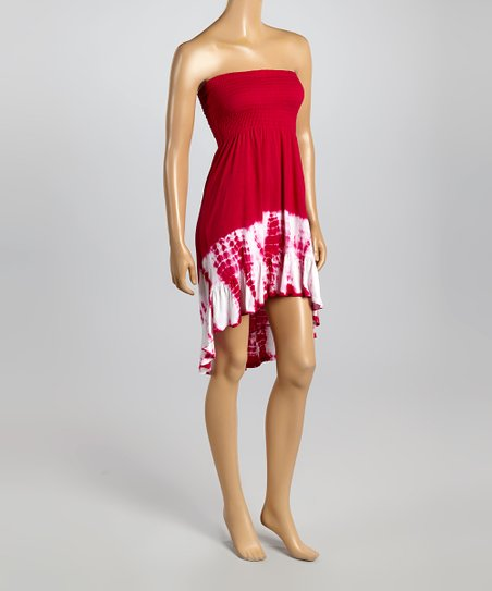 Hot Pink Tie-Dye Hi-Low Strapless Dress