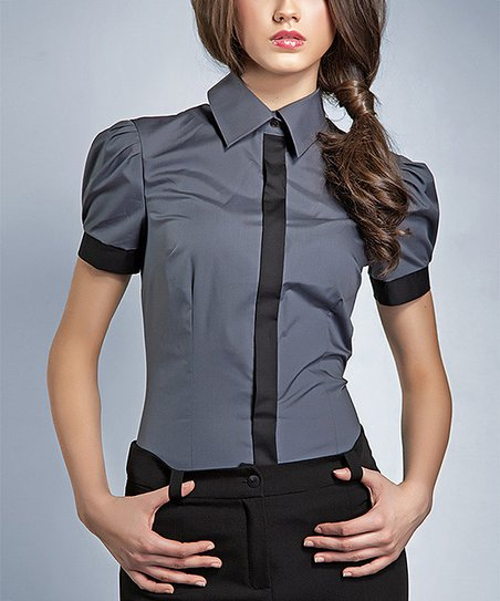 Gray & Black Button-Up Top