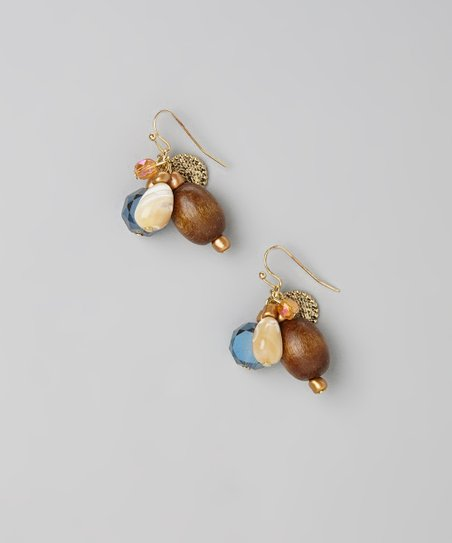 Natural & Gold Cluster Drop Earrings