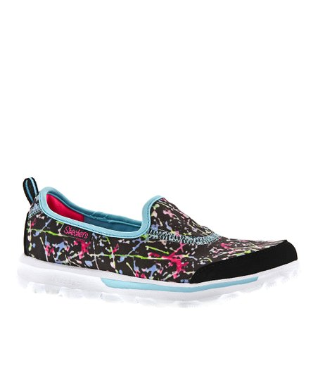 Black Paint Splatter Go Walk Slip-On Shoe