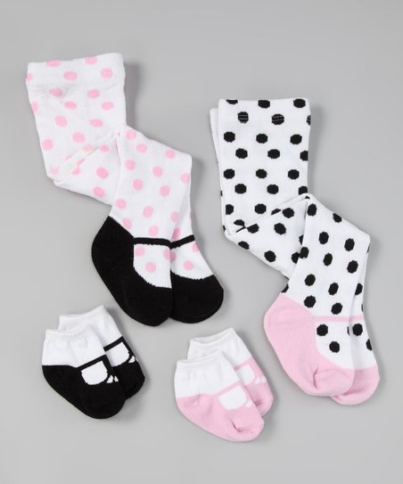 Pink & Black Socks & Tights Set