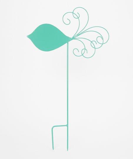 Turquoise Bird Silhouette Garden Stake