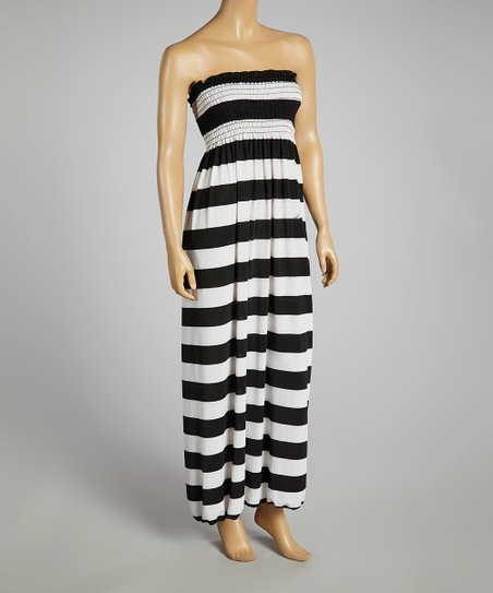 Black & White Bold-Stripe Strapless Maxi Dress - Women