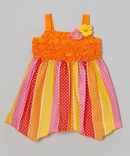 Orange & Pink Polka Dot Ruffle Dress - Infant, Toddler & Girls