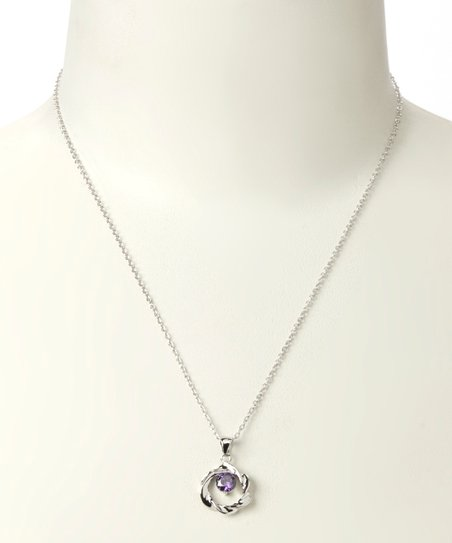 Silver & Purple Connie Constant Circle Pendant Necklace