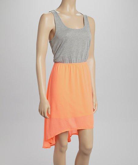 Coral Raceback Hi-Low Dress