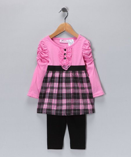 Pink Plaid Tunic & Leggings - Girls