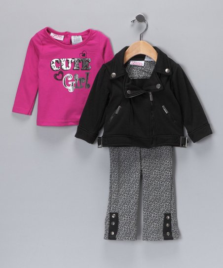 Black & Pink 'Cutie Girl' Jacket Set - Infant