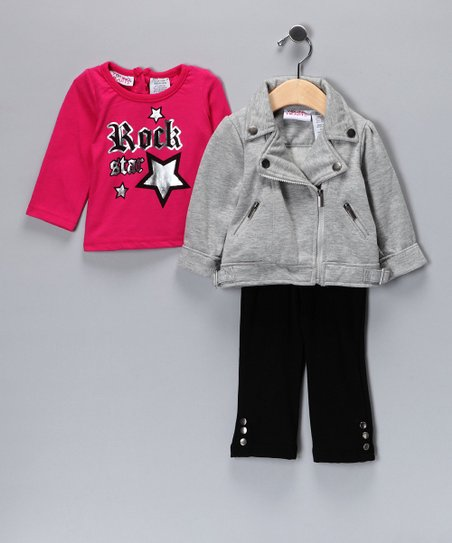 Pink & Gray 'Rock' Jacket Set - Infant