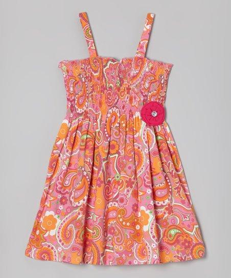 Orange & Pink Paisley Strap Dress - Girls