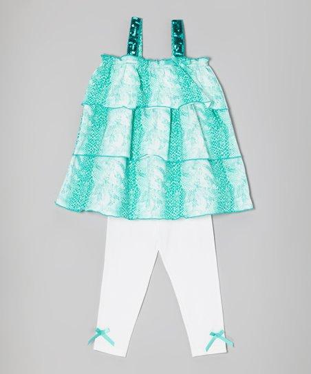 Seafoam & White Tiered Tunic & Leggings - Infant, Toddler & Girls