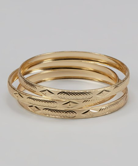 Gold Leaf Etched Bangles - Set of 3