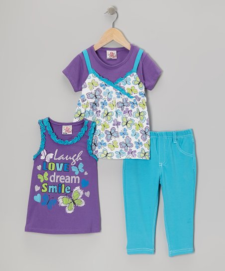 Purple Butterfly Layered Top Set - Infant, Toddler & Girls
