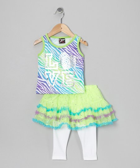 Green 'Love' Tank & Skirted Leggings - Infant, Toddler & Girls