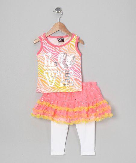 Pink 'Love' Tank & Skirted Leggings - Infant, Toddler & Girls
