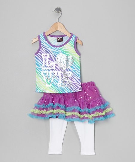Purple 'Love' Tank & Skirted Leggings - Infant, Toddler & Girls
