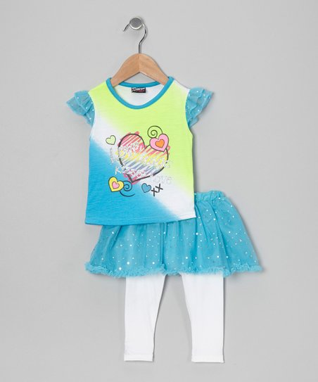 Blue Heart Top & Skirted Leggings - Infant, Toddler & Girls