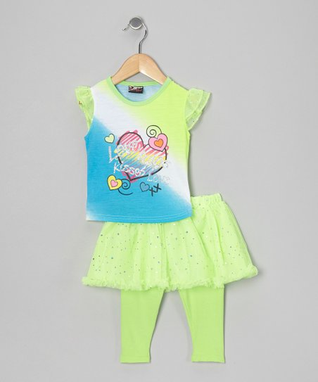 Green Heart Top & Skirted Leggings - Infant, Toddler & Girls