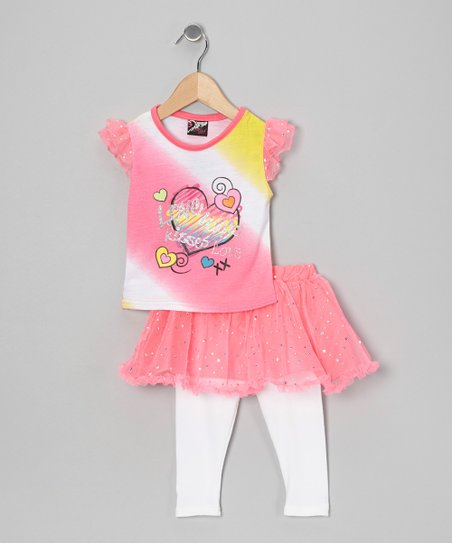 Pink Heart Top & Skirted Leggings - Infant, Toddler & Girls