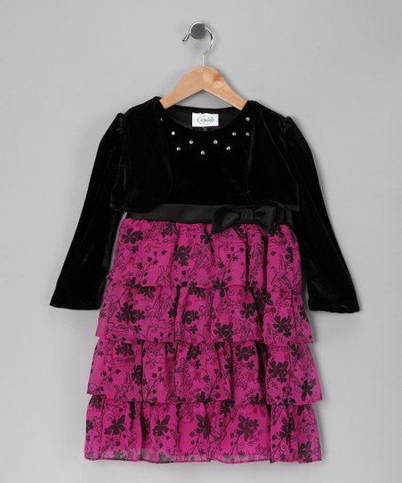 Pink &amp; Black Floral Tiered Ruffle Dress - Girls