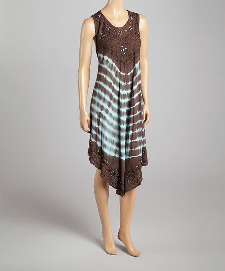 Blue & Brown Tie-Dye Embroidered Embellished Sleeveless Dress