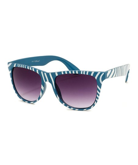 Teal & White Zebra Safari Sunglasses