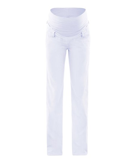 White Lova Mid-Belly Maternity Pants