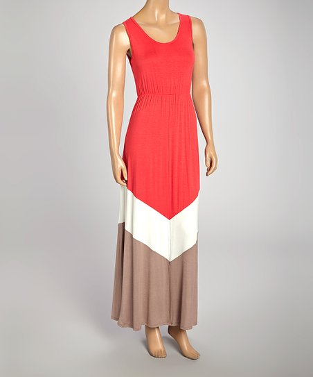 Coral & Ivory Chevron Sleeveless Maxi Dress