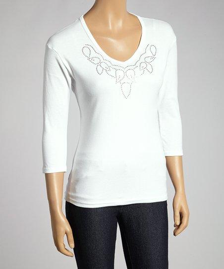 White Shimmer Loop Embellished Top