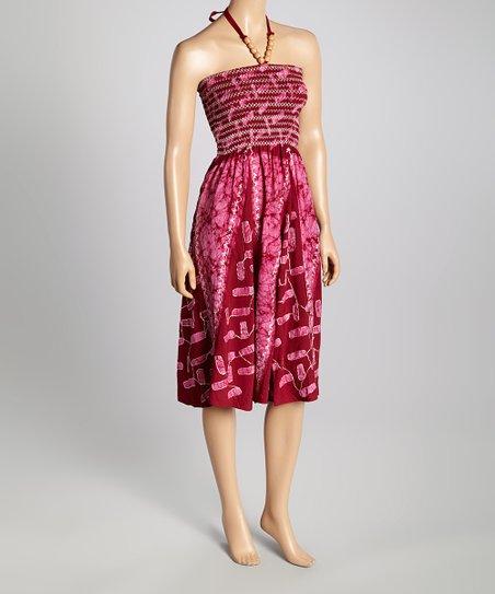 Pink & Magenta Tie-Dye Smocked Halter Dress