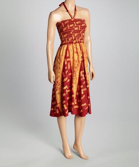 Yellow & Burgundy Tie-Dye Smocked Halter Dress