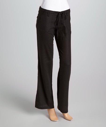 Black Linen Straight-Leg Pants