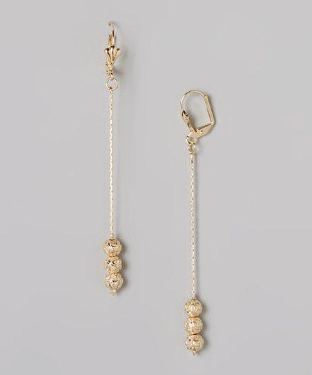 Gold Triple Ball Drop Earrings