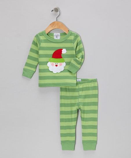 Green Stripe Santa Tee & Long Johns - Infant