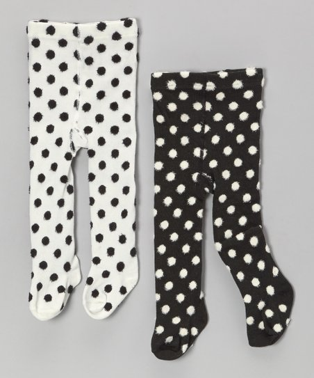 White & Black Polka Dot Tights Set - Infant & Toddler