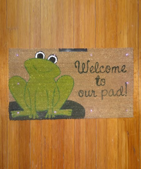 Green Frog 'Welcome to Our Pad' Doormat