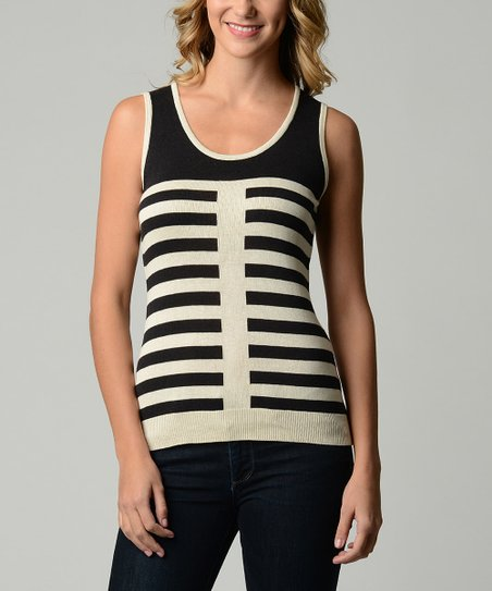 Black & White Stripe Sleeveless Top