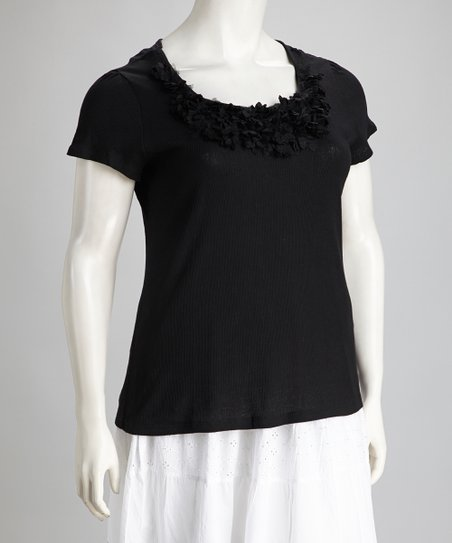 Black Rosette Plus-Size Scoop Neck Top