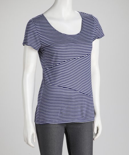 Navy Mixed Stripe Tee