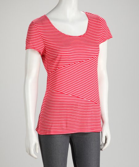 Red Mixed Stripe Tee