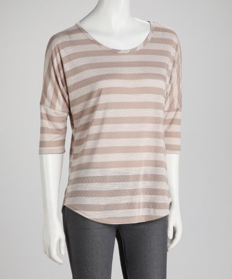 Natural Stripe Round Hem Tee