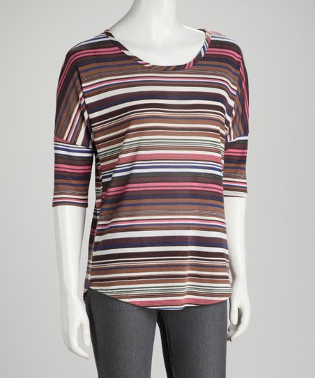 Brown &amp; Pink Stripe Round Hem Tee